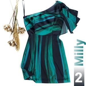 Milly Blue Green Striped One Shoulder Dress 2
